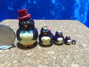 5 Piece Miniature Penguin with Red Hat