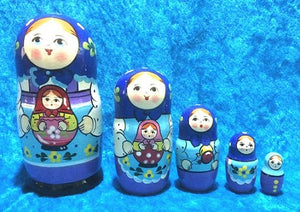 5 Piece Peasant with Matryoshka Blue Scarf