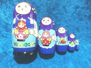 5 Piece Peasant with Matryoshka Purple Scarf
