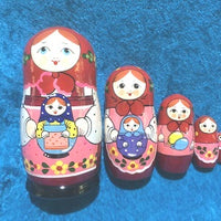 5 Piece Peasant with Matryoshka Red Scarf