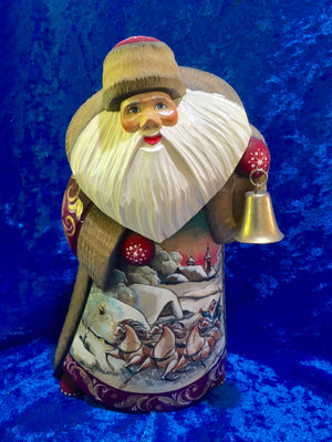 Hand Carved Father Frost with Bell and Troika Scene