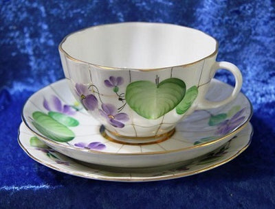 Lomonosov Porcelain Forest Violet Cup, Saucer and Plate.