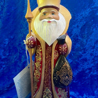 Gold Father Frost with Green Bag and Gold Staff