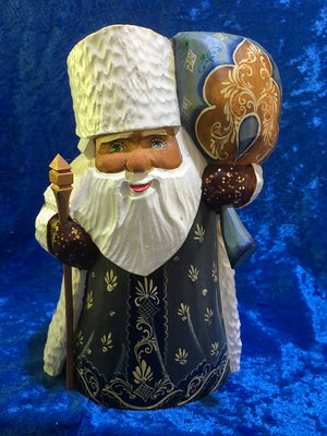 Small Blue Father Frost with Gold and Blue Toy Bag and Staff
