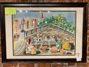 "Hooper ""European Market"" Original signed watercolor"