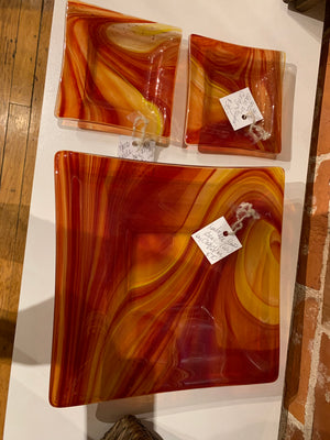 Taylor 3 fused glass plates Red & Orange
