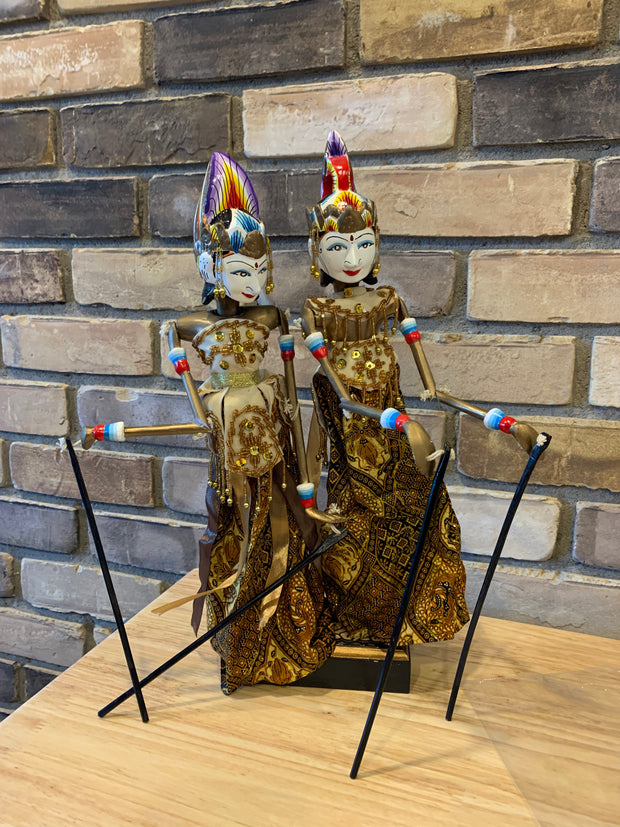 Indonesian Pair of Handmade leather puppets Arjuna and Srilandi