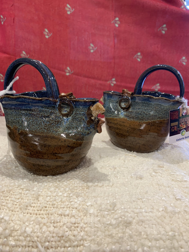 Pottery Chicken Pitchers or Gravy Boats in Brown, Green, & Blue