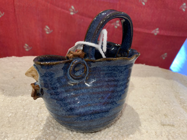 Pottery Chicken Pitchers or Gravy Boats in Deep Blue