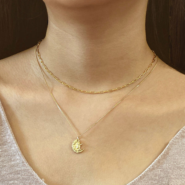 Ancient Promise Pendant Necklace in 18K gold plated sterling silver by Ma Petite Mer Jewelry
