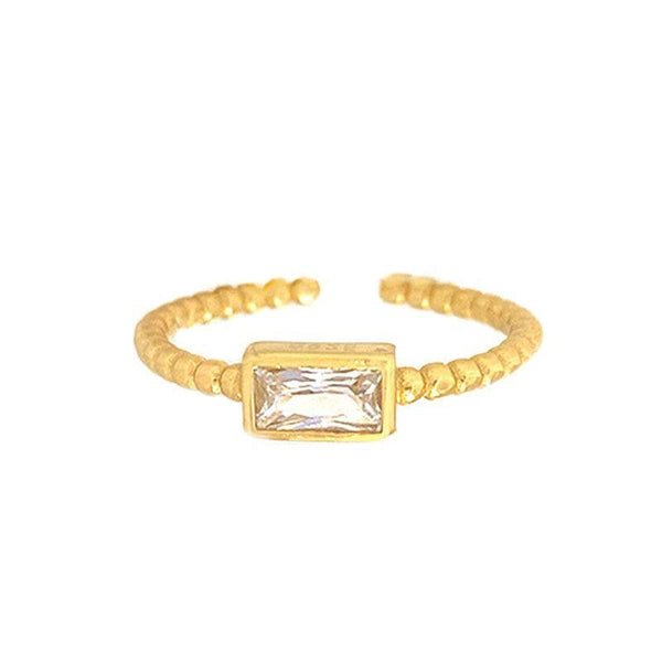 Baguette Twist Ring in 18K gold plated sterling silver by Ma Petite Mer Jewelry