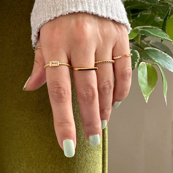 Bar Ring in 18K gold plated sterling silver by Ma Petite Mer Jewelry