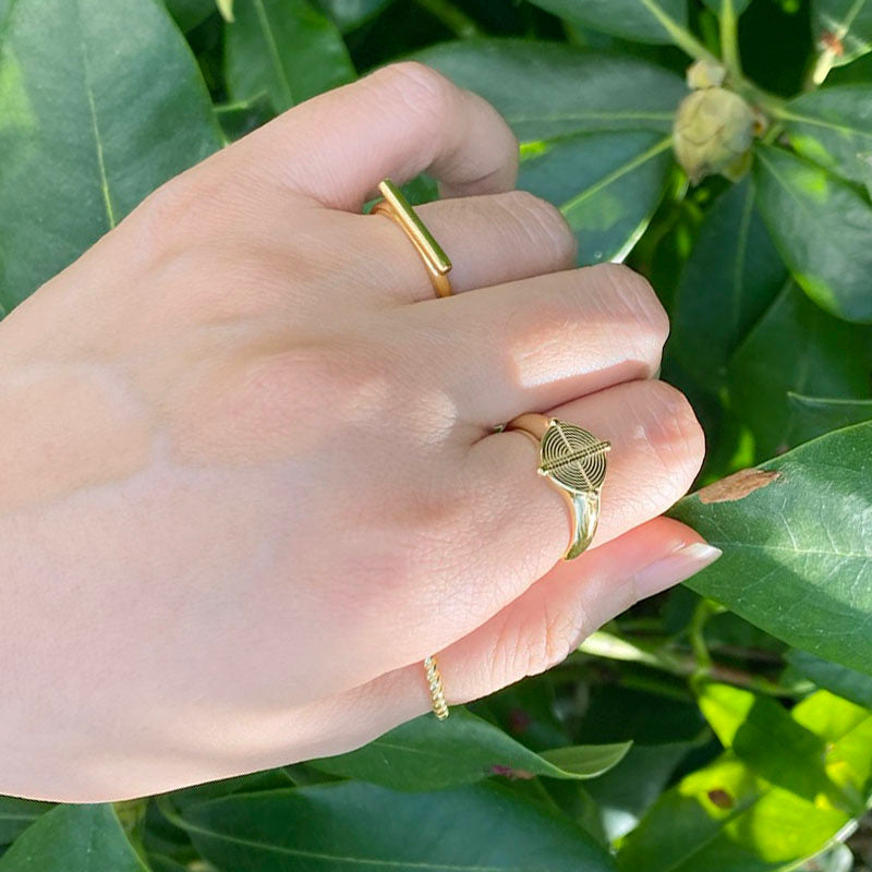 Bar Ring in 18K gold over sterling silver by Ma Petite Mer Jewelry