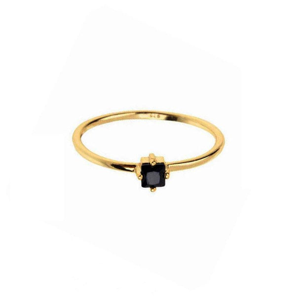 Black Square Ring in 18K gold plated sterling silver by Ma Petite Mer Jewelry
