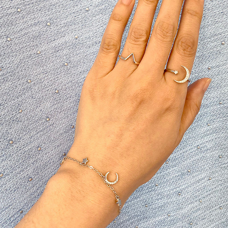 Celestial Bracelet and rings in sterling silver by Ma Petite Mer Jewelry