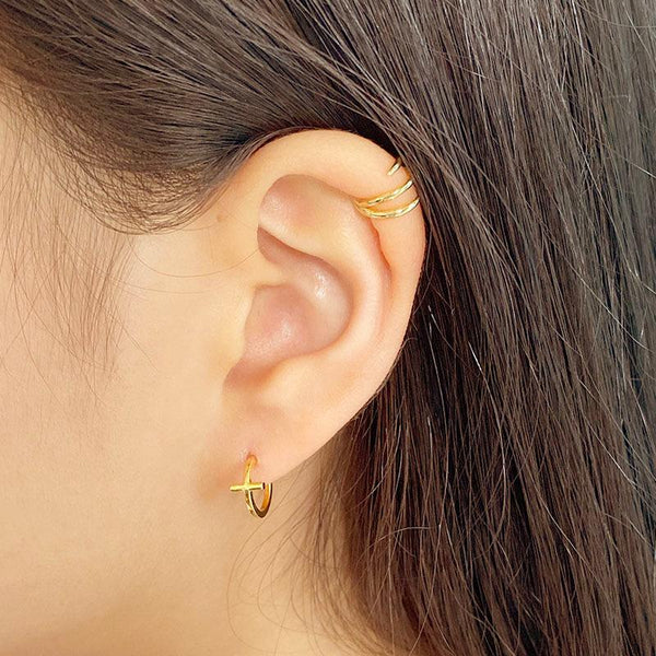 Claw Cuff Earring and Cross Earrings in 18K gold plated sterling silver by Ma Petite Mer Jewelry