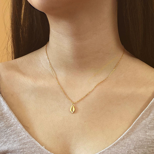 Cowrie Shell Pendant Necklace in 18K Gold Vermeil by Ma Petite Mer Jewelry