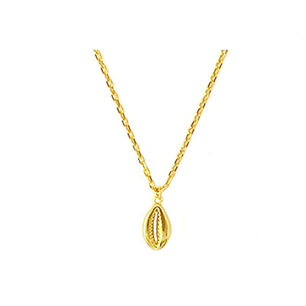 Simple and elegant Cowrie Shell Pendant Necklace in 18K Gold Vermeil by Ma Petite Mer Jewelry