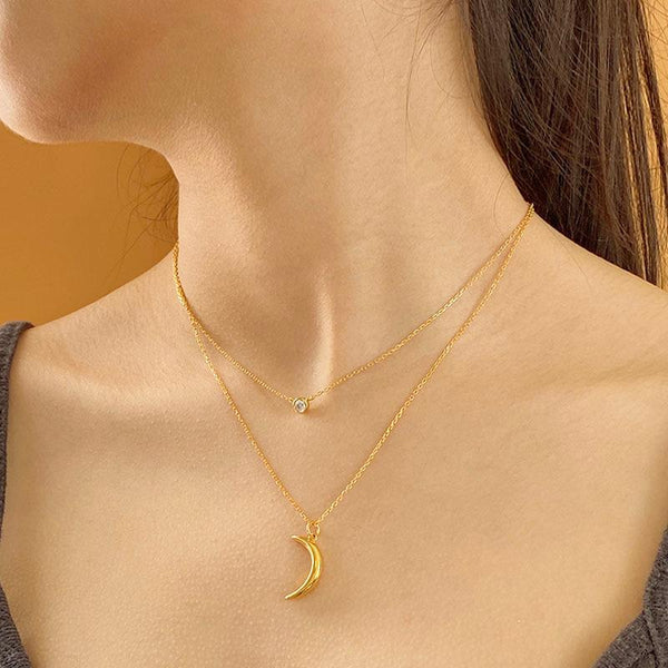 simple and stylish Crescent Pendant Necklace in 18K gold plated sterling silver by Ma Petite Mer Jewelry