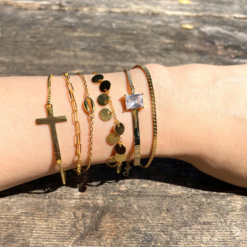Cross Bracelet in 18K gold plated sterling silver by Ma Petite Mer Jewelry