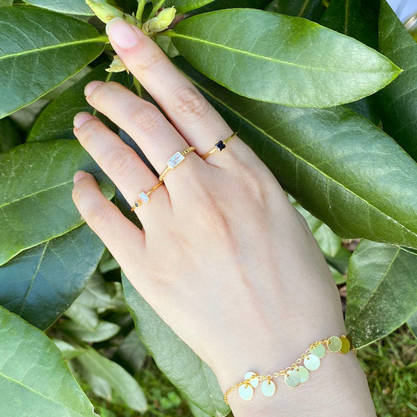 Stackable rings and bracelet in 18K gold plated sterling silver by Ma Petite Mer Jewelry