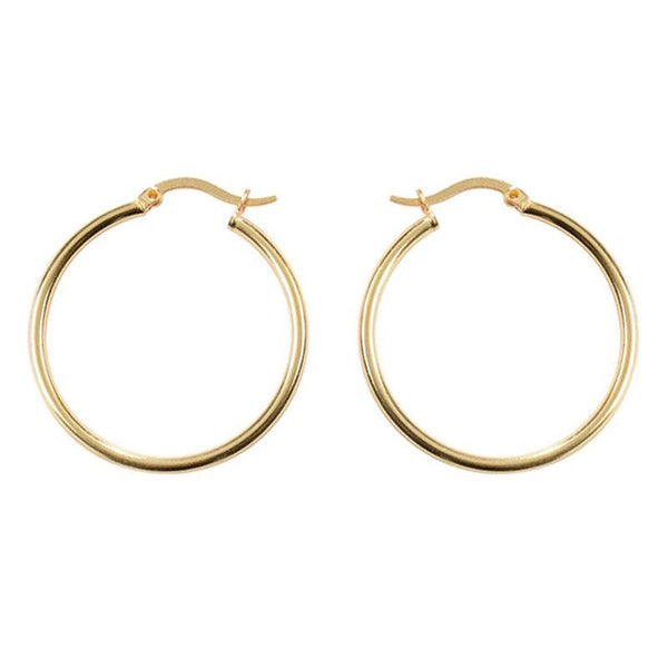 Large Simple Hoop Earrings in 18K gold plated sterling silver by Ma Petite Mer Jewelry