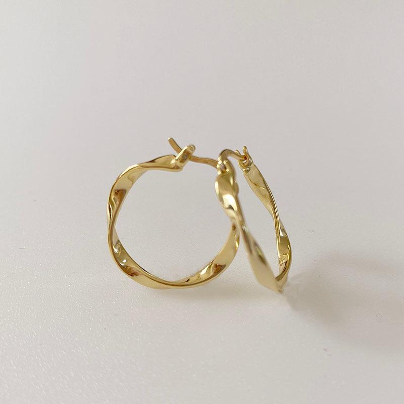 Large Wave Hoop Earrings in 18K gold plated sterling silver by Ma Petite Mer Jewelry