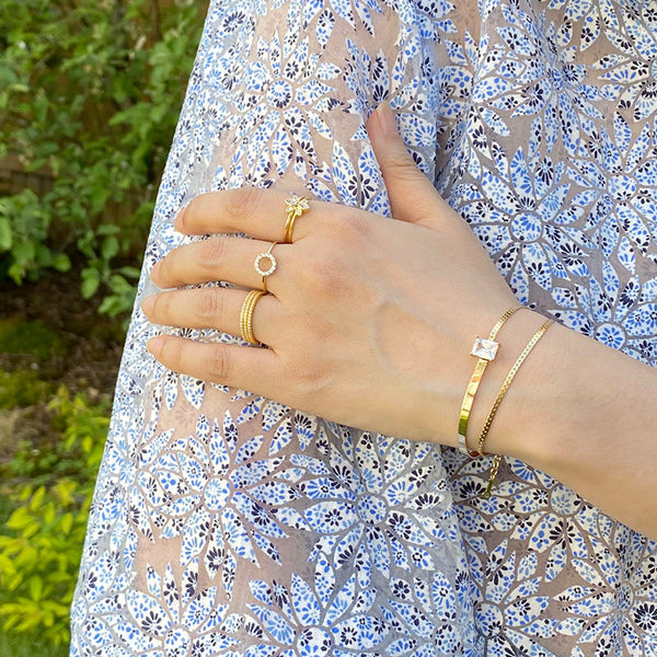 Layered Baguette Bracelet in 18K Gold Plated Sterling Silver by Ma Petite Mer Jewelry