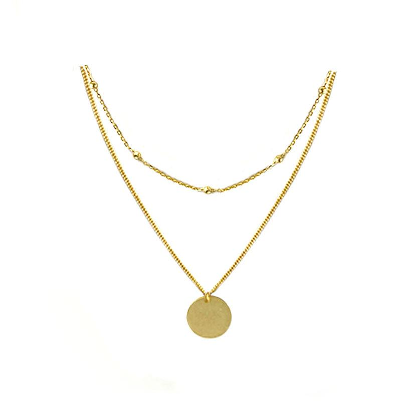 Simple and elegant Layered Disk Necklace in 18K gold vermeil by Ma Petite Mer Jewelry