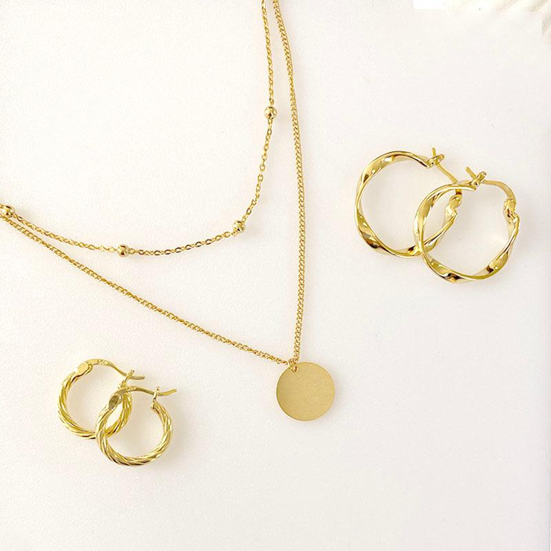 Simple and elegant layered necklace and hoop earrings in 18K gold vermeil by Ma Petite Mer Jewelry