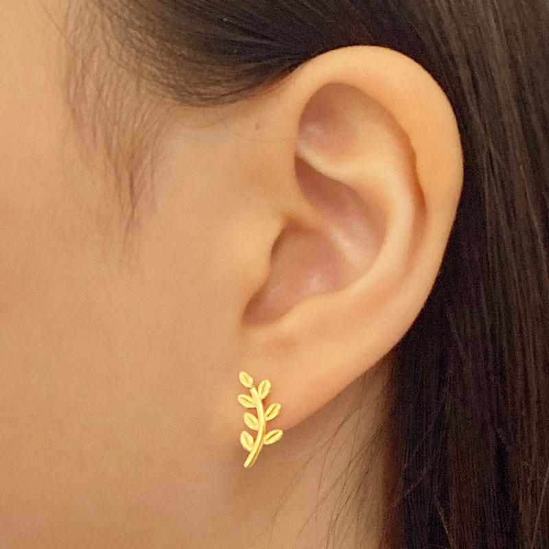 Leaf Stud Earrings in 18K gold plated sterling silver by Ma Petite Mer Jewelry