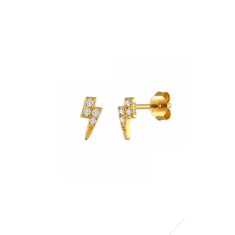 Lightning Bolt Stud Earrings in 18K gold plated sterling silver by Ma Petite Mer Jewelry