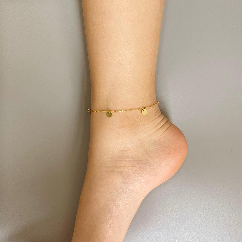 Dainty Mini Disk Anklet in 18K gold plated sterling silver by Ma Petite Mer Jewelry