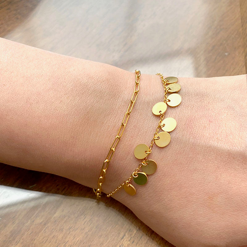 Mini Disk Bracelet in 18K gold plated sterling silver by Ma Petite Mer Jewelry
