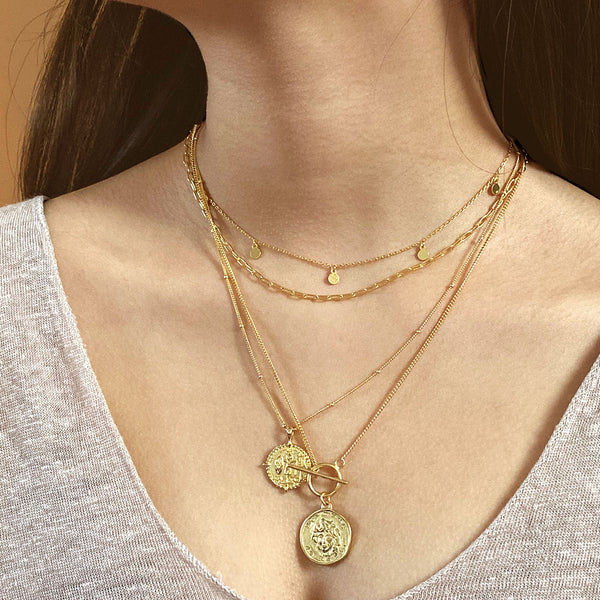 Mini Disk Necklace in 18K Gold Plated Sterling Silver by Ma Petite Mer Jewelry
