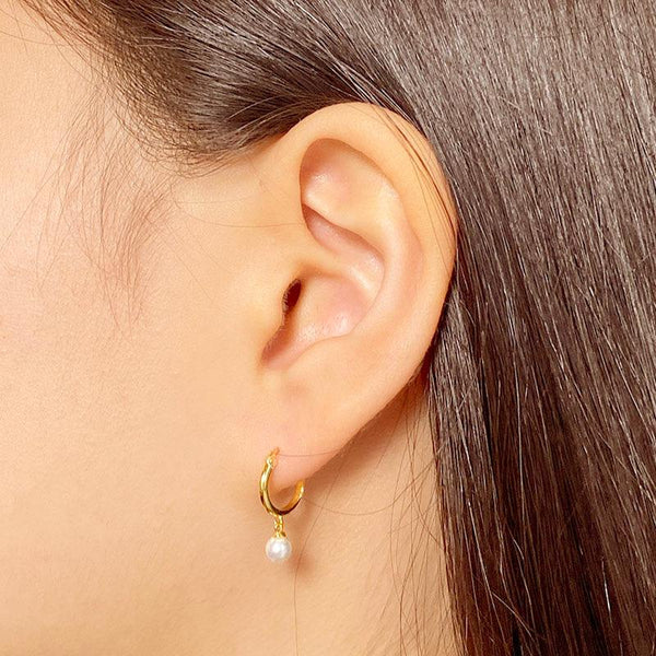 Mini Pearl Hoop Earrings in 18K gold plated sterling silver by Ma Petite Mer Jewelry
