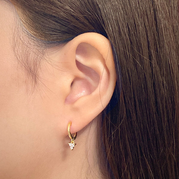 Mini Trio Huggie Earrings in 18K gold plated sterling silver by Ma Petite Mer Jewelry