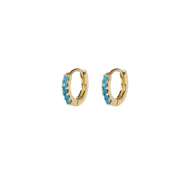 Mini Turquoise Huggie Earrings in 18K gold plated sterling silver by Ma Petite Mer Jewelry