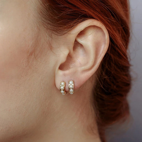 Natural Pearl Huggie Earrings by Ma Petite Mer Jewelry