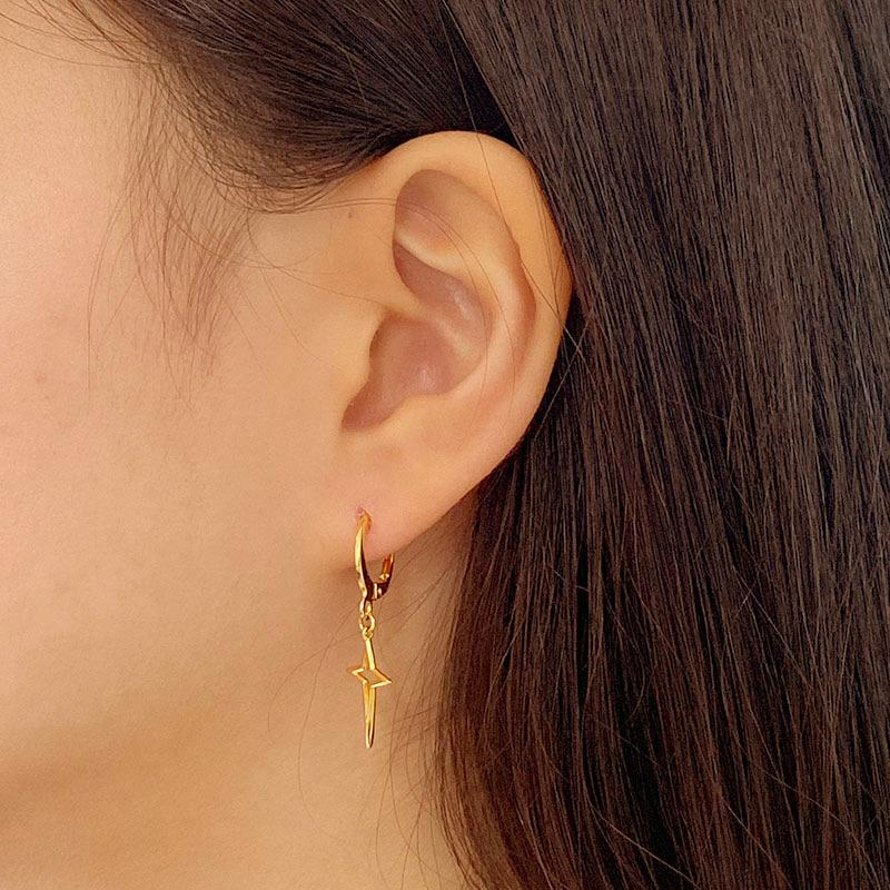 Northstar Huggie Earrings in 18K gold plated sterling silver by Ma Petite Mer Jewelry
