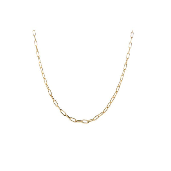Paperclip Chain Choker Necklace in 18K Gold Plated Sterling Silver by Ma Petite Mer Jewelry