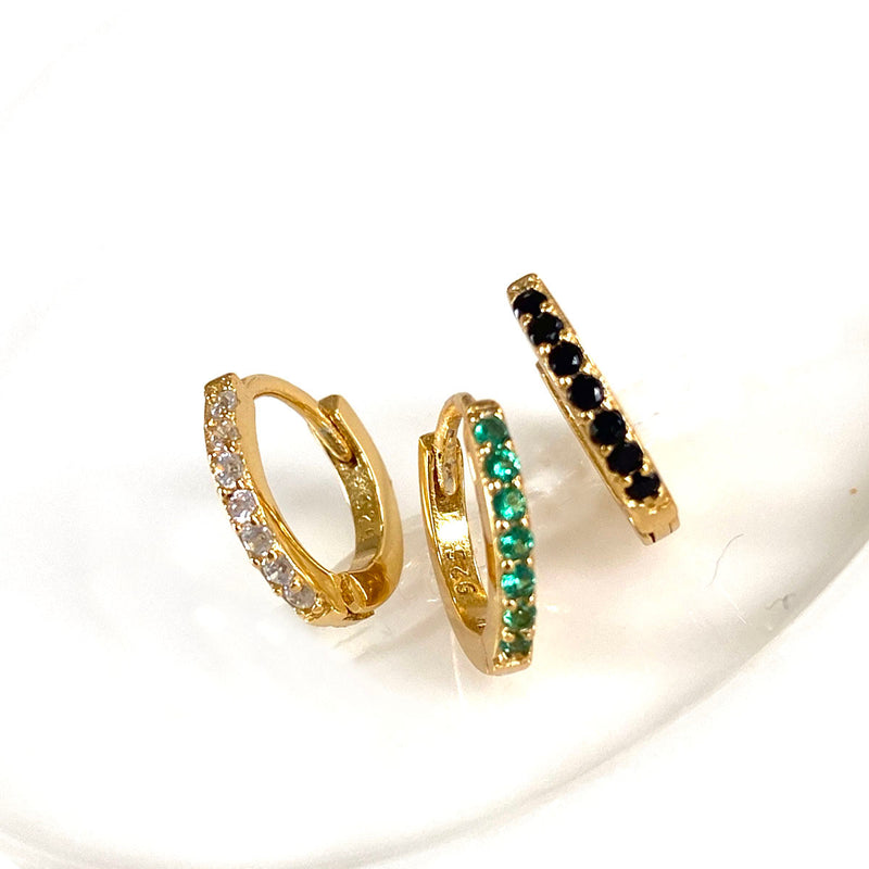 Colored Gemstone Huggie Earrings in 18K gold vermeil by Ma Petite Mer Jewelry