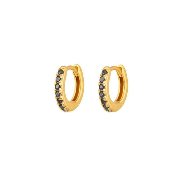 Pave Black Huggie Earrings in 18K gold vermeil by Ma Petite Mer Jewelry
