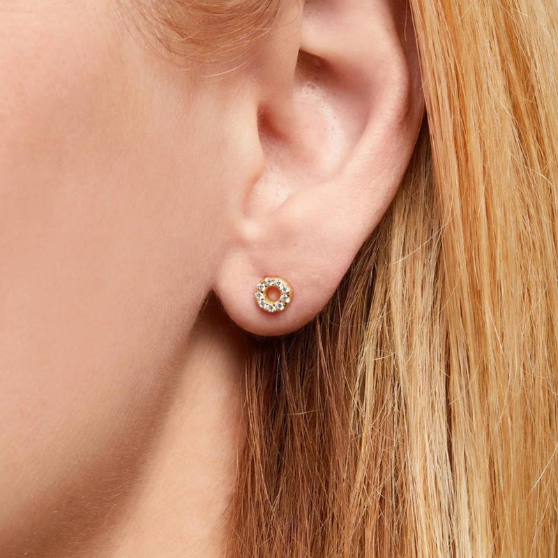 Pave Circle Stud Earrings by Ma Petite Mer Jewelry
