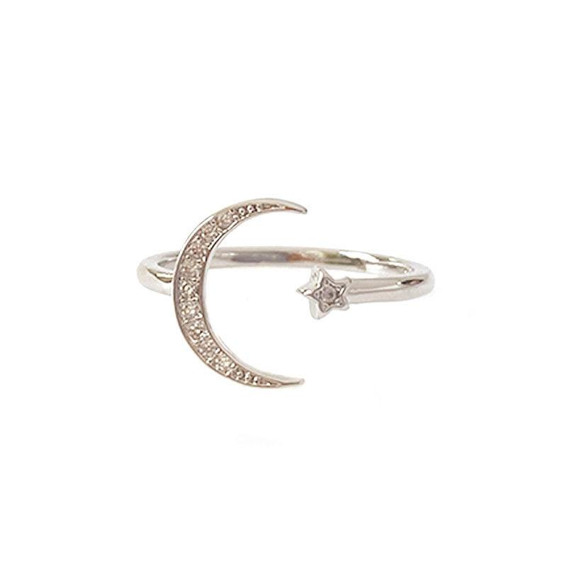 Pave Crescent Ring in sterling silver by Ma Petite Mer Jewelry