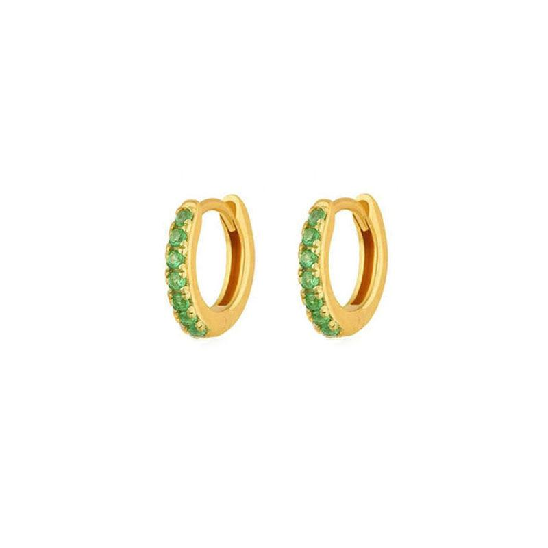 Pave Green Huggie Earrings in 18K gold vermeil by Ma Petite Mer Jewelry
