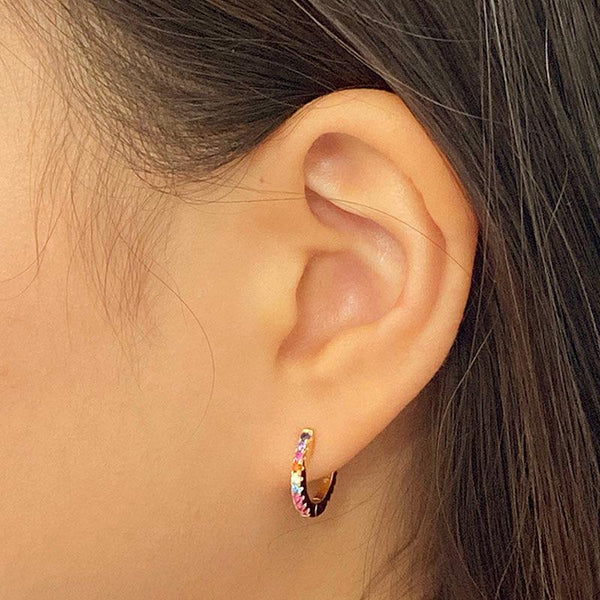Pave Rainbow Huggie Earrings in 18K Gold Vermeil by Ma Petite Mer Jewelry