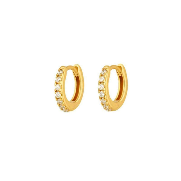 Pave White Huggie Earrings in 18K gold vermeil by Ma Petite Mer Jewelry