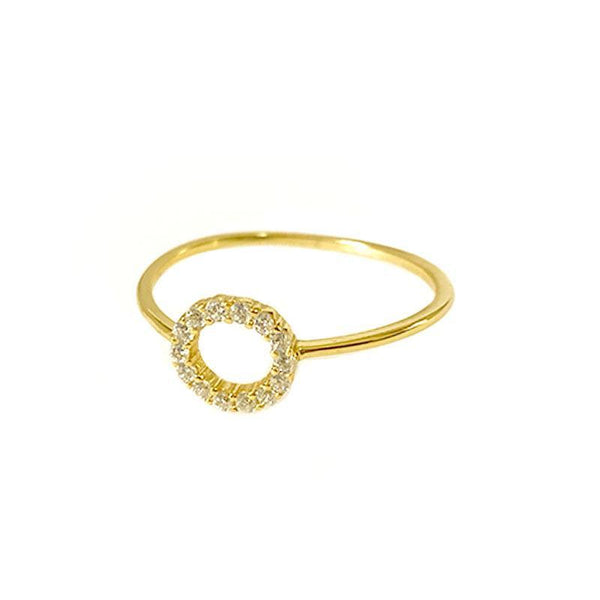 Pave Circle Ring in 18K gold vermeil by Ma Petite Mer Jewelry