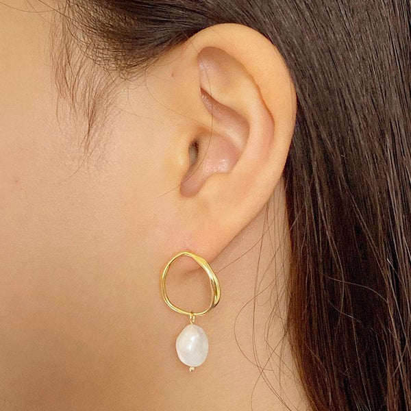 Pearl Stud Earrings in 18K gold plated sterling silver by Ma Petite Mer Jewelry